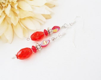 Cherry Red Earrings, Bright Red, Dangle, Bohemian, Czech Glass Earrings, Red Bead Earrings, Scarlet Red Beaded Jewelry, Unique Gift for Her