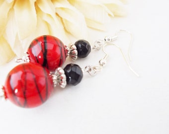 Red Lampwork Earrings, Glass Beaded Earrings, Red and Black Drop Earrings, Red Dangle Earrings, Gift for Her, Clip On Earrings, Mother Gift