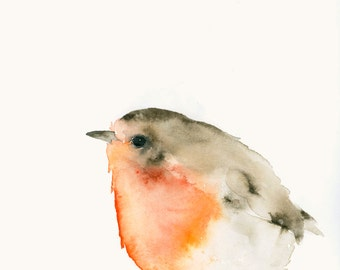 Robin Redbreast Fine Art Print from Original Watercolor Painting