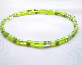 Peridot Cube Bead Necklace, Interchangeable, Multi Strand, multi peridot, detachable, small bead, lime green