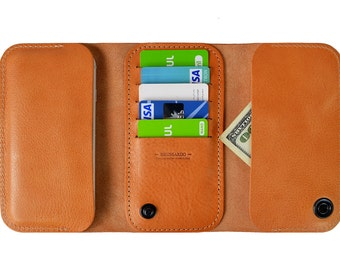 Wallet case for iPhone 7 Plus. Natural leather