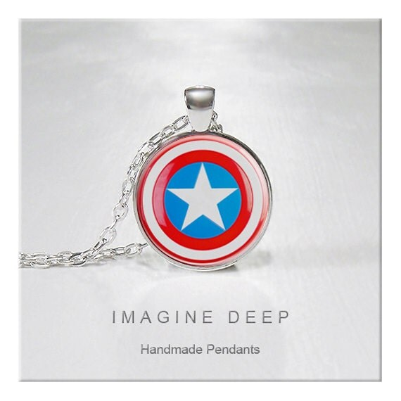 BUY 2 GET 1 FREE Captain America Pendant Necklace Star High Quality Handmade Silver Copper Pendant - Captain America Shield (113)