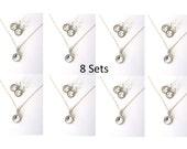 Bridesmaid Crystal Jewelry Set, SET OF 8, Wedding Jewelry, Bridesmaid Gifts, Crystal Necklace, Crystal Earrings, Bridesmaid Set, Swarovski