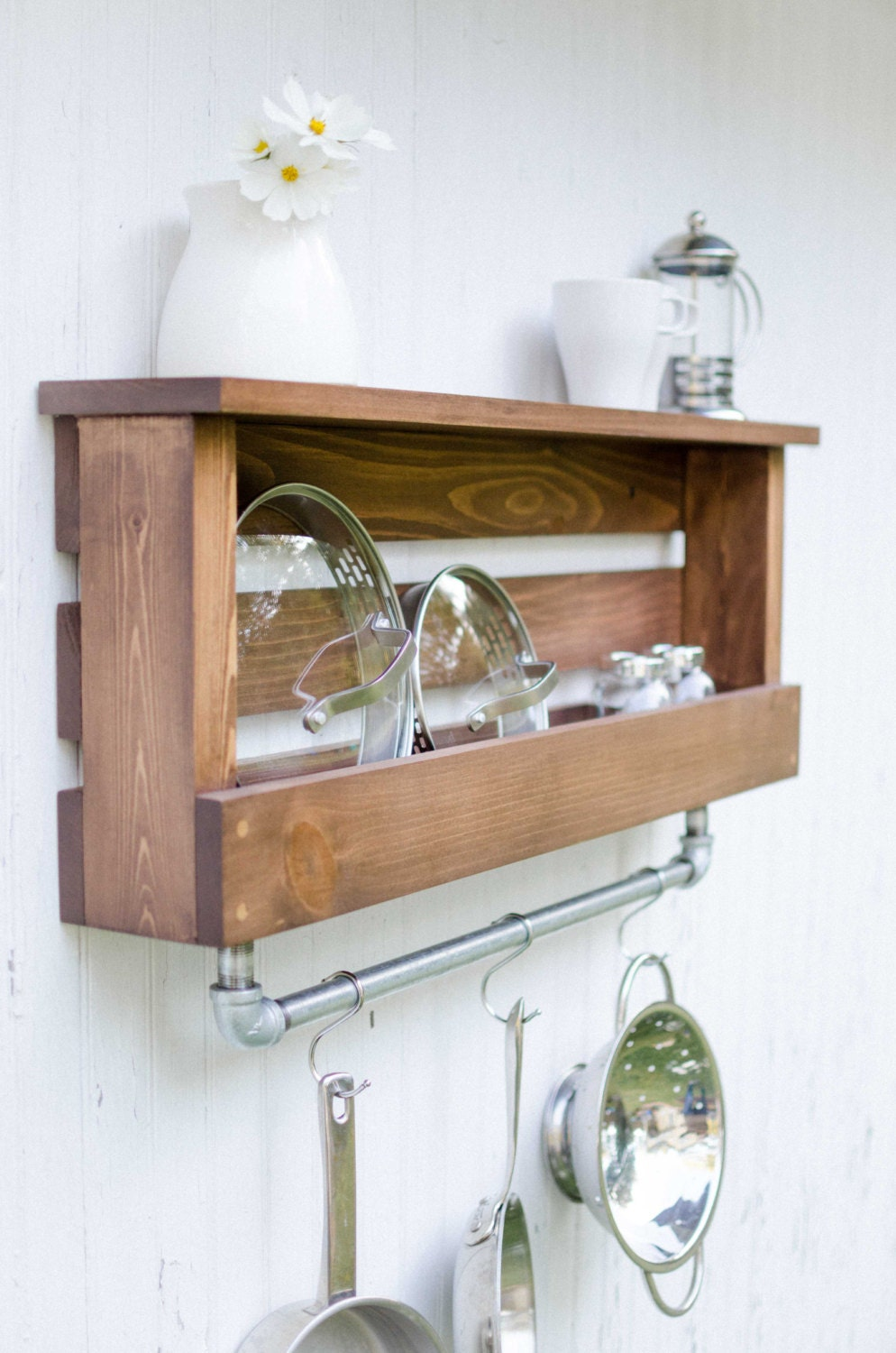 Manchester Rustic Farmhouse Industrial Shelf with Pot Rack