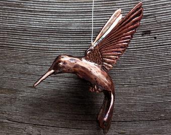 Hanging Hummingbird copper sculpture