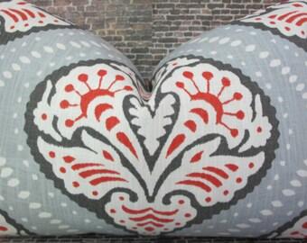 Designer Pillow Cover -  Lumbar, 16 x 16, 18 x 18, 20 x 20, 22 x 22. 24 x 24 - Dwell Studio - Kavali Ogee Orange and Gray