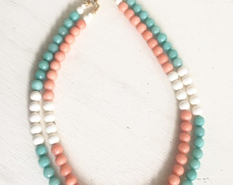 Multi Strand Statement Necklace with Orange Peach Jade, Aqua and Ivory Stones.  Turquoise Statement Necklace. Chunky Strand Fashion Jewelry.