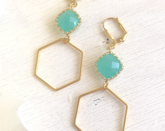 Gold Hexagon Earrings with Aqua Stones. Mint Dangle Earrings. Drop Earrings. Jewelry. Gold and Mint Geometric Earrings. Gift. Jewelry.