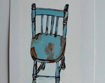 Original acrylic painting // still life painting // WOOD CHAIR no. 1 // original art on paper