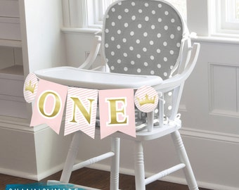 Our Little Princess First Birthday High Chair Banner