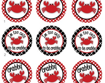 Crabby Crab Cute Crab Pinback Flatback Button Badge Magnets Party Favors or Crafting 1 inch set of 10