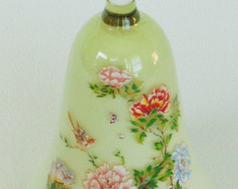 Large Blown Glass Soft Green Bell Red Pink & Blue Flowers Japan