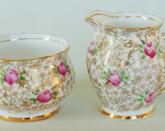 Phoenix Bone China Pink Roses With Gold Foliage Creamer And Sugar Bowl Floral Chintz PRISTINE CONDITION