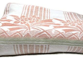 Vintage Camp Blanket 1930s Cotton Pink Green Art Deco Floral Geometric 150 x 68