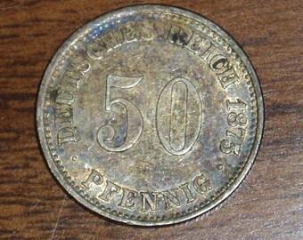 Rare Date German Coin, 50 Pfennig,1875H, Rich Rainbow Tone