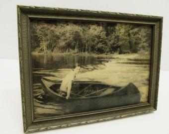Vintage Framed Photo of Girl in Canoe in River Rapids
