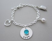 Custom Birthday Bracelet - Sterling Silver - Charm Bracelet - Engraved Name - Birthday - Child - Gift Idea - Personalized Girl - Gifts