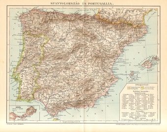 1897 Original Antique Map of Spain and Portugal
