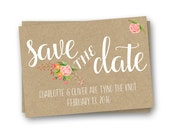 Rustic Save the Date Card, Kraft Paper Save the Date, Floral Save the Date Card
