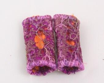 Magenta fuchsia purple Orange Fabric fiber bead Dreadlock bead art beads scarf embellishment embroidered jewelry supply drop spindle