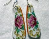 Long Floral Dangle Earrings Sterling Silver Ear Wires Hand Cut Broken China Lightweight #402