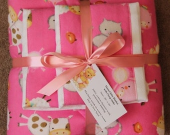Baby Blanket Set with 2 Burp Cloths #1G-714
