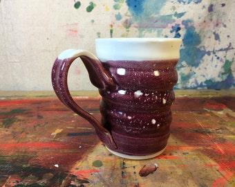 16 OZ. Swirly Tall Mug Two Toned raspberry red #0000015