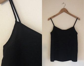 vintage black thin strap cami top. UK 6-8