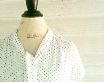Vintage White POLKA DOT Sailor Shirt with Blue and Green Polka Dots
