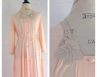 Vintage PEACH Dressing Gown Lingerie