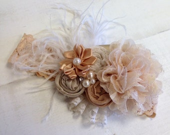 Elegant Champagne &Gold NewYear's floral feather headband/ hairclip
