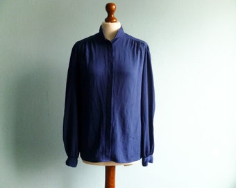 Vintage dark blue blouse shirt women / thin silky / button up / long sleeve / secretary work / medium