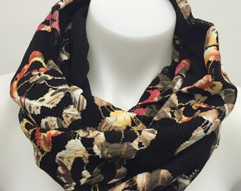 Lace Infinity Scarf_Black Floral on Black Microfleece