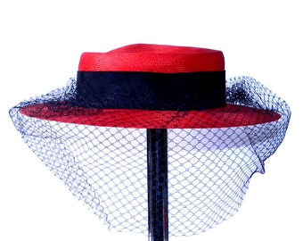 Vintage Red and Black Straw Hat with Veil