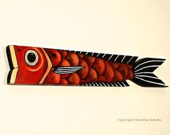 Big Red Fish Painted on Reclaimed Barnwood Board OOAK Folk Art
