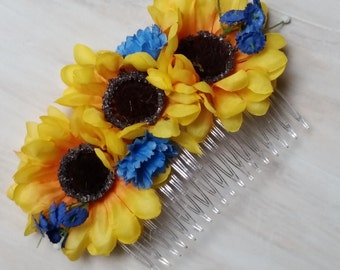 Blue yellow Bridal hair combs -set of 2- Sunflower Wedding Accessories Bridal party Bridesmaids silk floral hairpiece summer bride