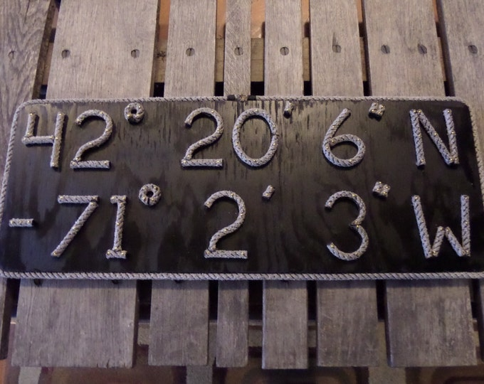 Nautical Latitude & Longitude MADE TO ORDER Sign Great Gift Navy or Wood Stained Wall Hanging