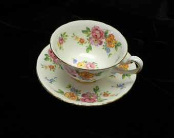 Royal Chelsea English Bone China Floral Cup and Saucer