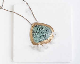 Turquoise + Geode Accent Necklace | One of a Kind Turquoise Statement Necklace