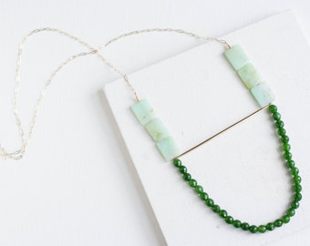 Chrysoprase + Jade Necklace | 14k Gold Fill