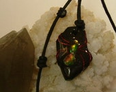 Bright Red, Green and Gold Color Fire Gem Ammolite From Utah Deposit, Spider Mens Cord Necklace 613