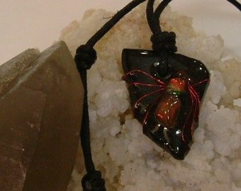 Bright Red to Red Orange Fire Gem Ammolite From Utah Deposit, Spider Mens Cord Necklace 615