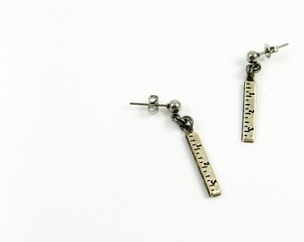 Ruler Earrings (Jewelry for Engineer, Teacher, Crafter, Quilter Gift) Steel Post Earrings