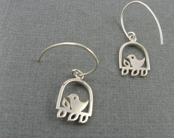 Sterling Silver Bird on Branch Earrings - Woodland Nature Jewelry with Leaves