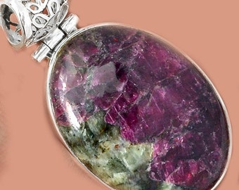 Sale, Beautiful Russian Eudialyte Pendant, 925 Silver, One of a Kind