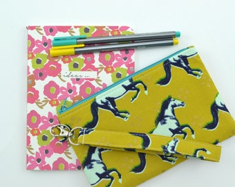 Horse Wristlet Wallet. Zipper Pouch Wallet, Cell Phone Wristlet, Gift for Her
