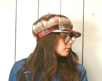 Plaid Poor Boy Hat 1960s Vintage Short Brim Beatnik Hippie Hat Large