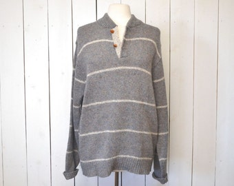Wool Knit Sweater 1980s Nautical Style Striped Pullover Blue Gray Vintage Sweater Large XL