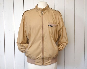 Vintage Members Only Jacket 1980s Tan Beige Zip Up Windbreaker Jacket by Europe Craft Large Size 42