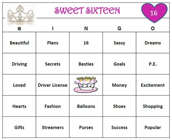 List Of All Bowl Games >> Sweet 16 Birthday Party Bingo Game 60 Cards by BuyMeSomeHappiness
